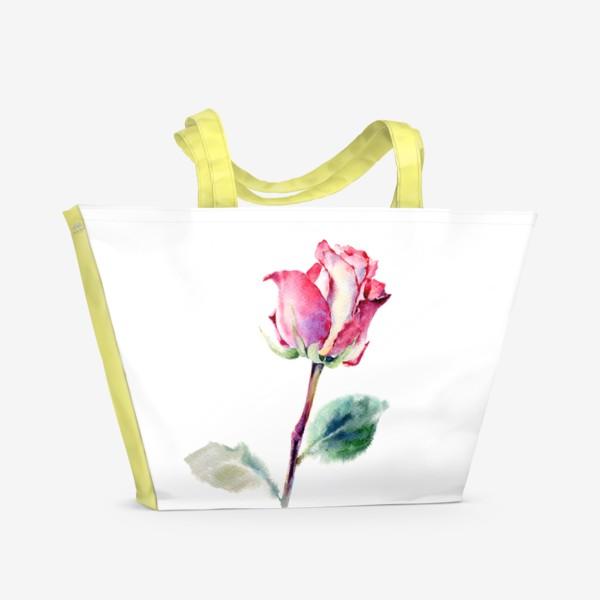 Пляжная сумка «Акварельная красная Роза»