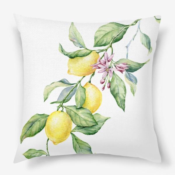 Подушка «Ветка с лимонами»