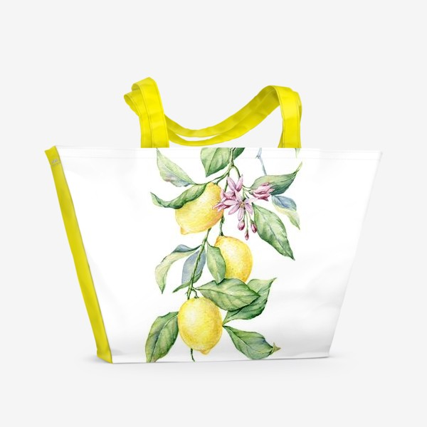 Пляжная сумка «Ветка с лимонами»