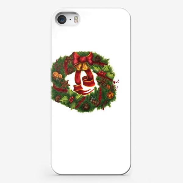 Чехол iPhone «Рождественский венок Christmas wreath Ар нуво»
