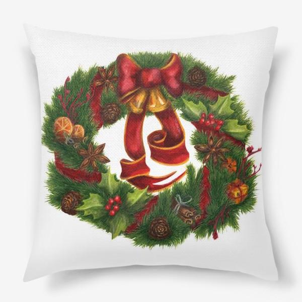 Подушка «Рождественский венок Christmas wreath Ар нуво»