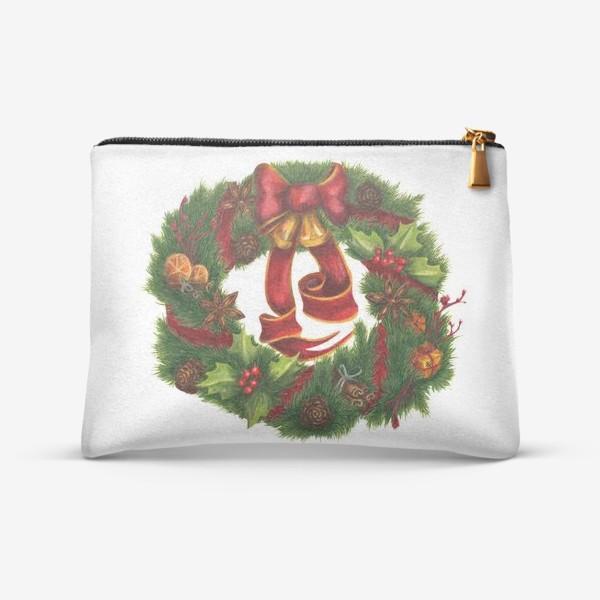 Косметичка «Рождественский венок Christmas wreath Ар нуво»