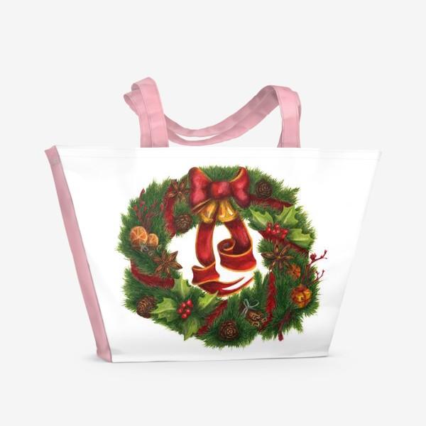 Пляжная сумка «Рождественский венок Christmas wreath Ар нуво»