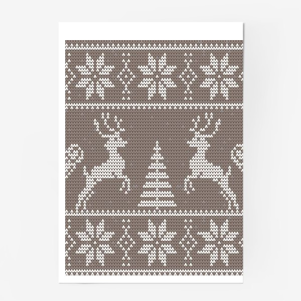Постер «Свитер с оленями (какао)»