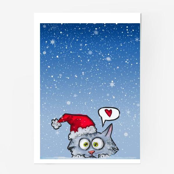 Постер «Зимний новогодний котик»