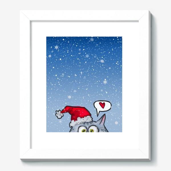 Картина «Зимний новогодний котик»