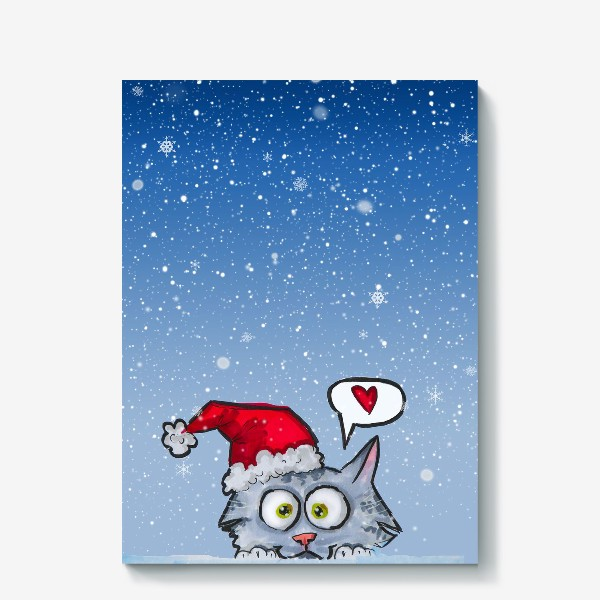 Холст «Зимний новогодний котик»