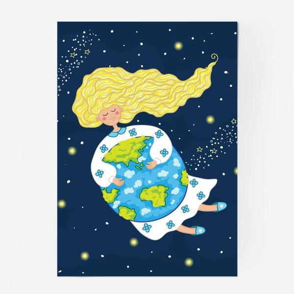 Постер «Девушка в космосе, обнимает нашу планету»
