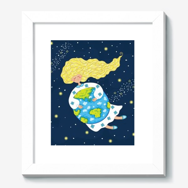 Картина «Девушка в космосе, обнимает нашу планету»