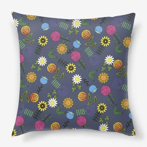 Подушка «цветы графика»