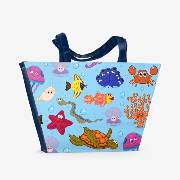 Пляжная сумка «Бесшовный паттерн с морскими обитателями»