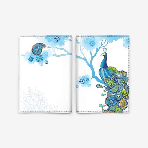 Обложка для паспорта «Павлин. Птица. Орнамент.»