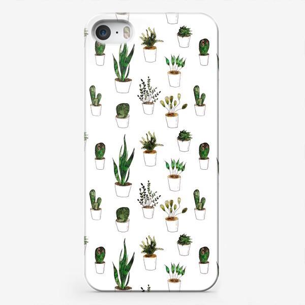 Чехол iPhone «Green plants in white pots»