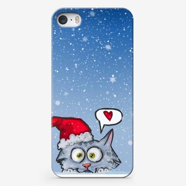 Чехол iPhone «Зимний новогодний котик»