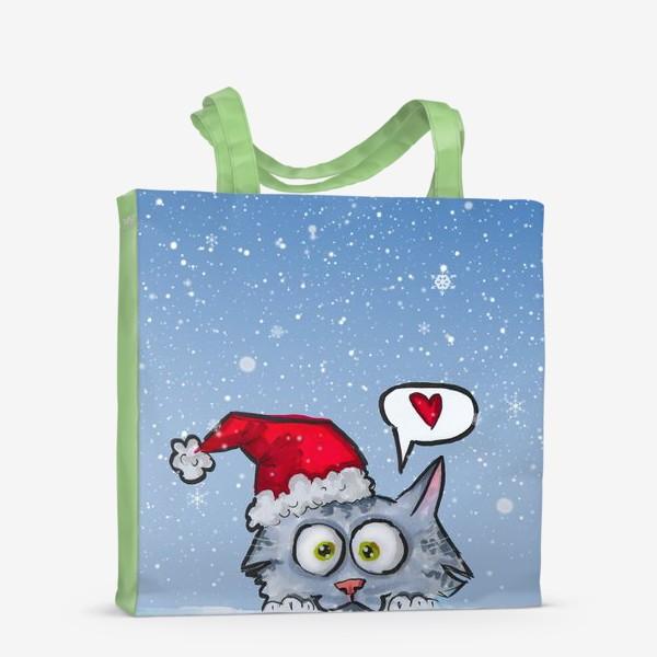 Сумка-шоппер «Зимний новогодний котик»