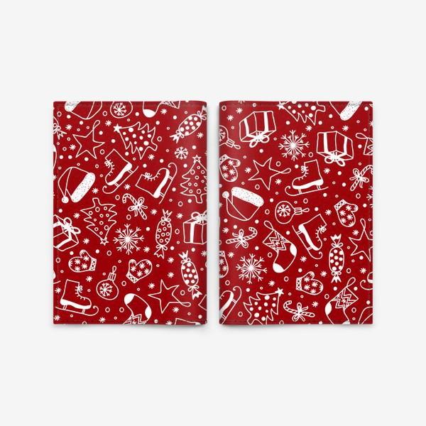 Обложка для паспорта «Red Christmas Pattern»