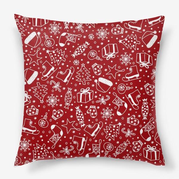 Подушка «Red Christmas Pattern»