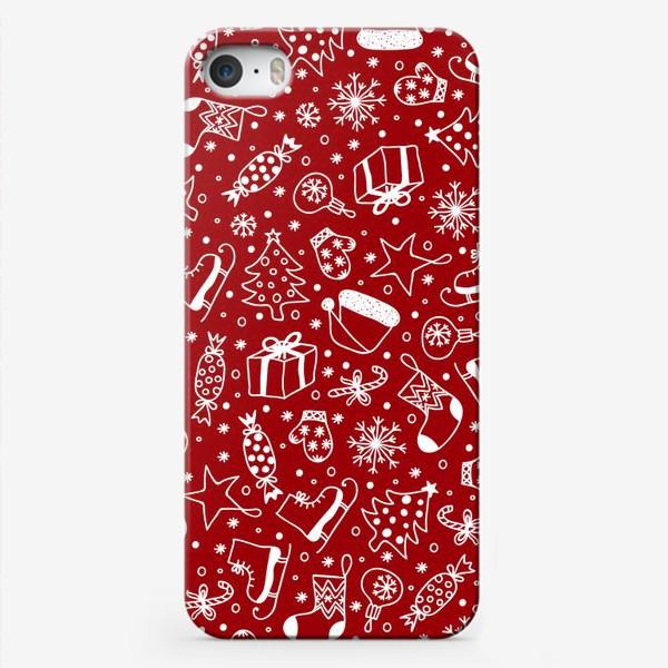 Чехол iPhone «Red Christmas Pattern»