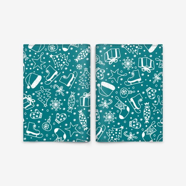 Обложка для паспорта «Blue Christmas Pattern»
