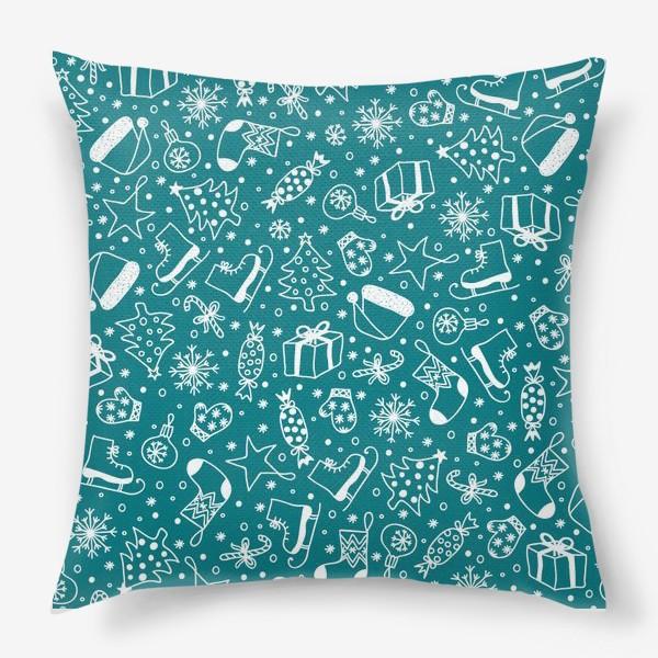 Подушка «Blue Christmas Pattern»