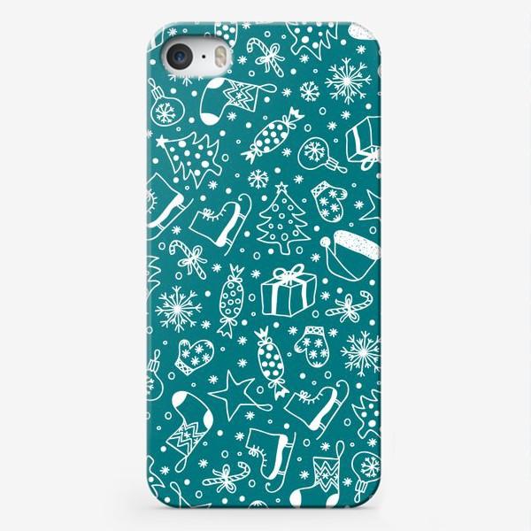 Чехол iPhone «Blue Christmas Pattern»