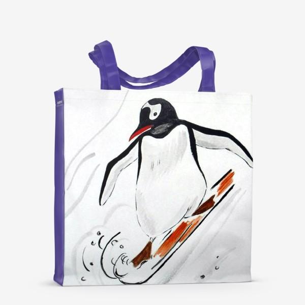 Сумка-шоппер «Пингвин-сноубордист»