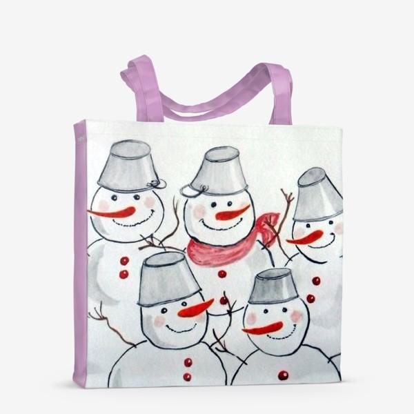 Сумка-шоппер «Весёлые снеговички»