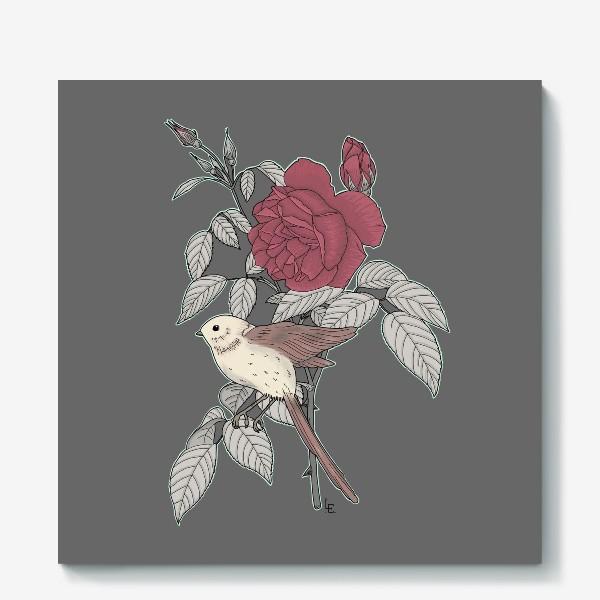Холст «Птица с розой»