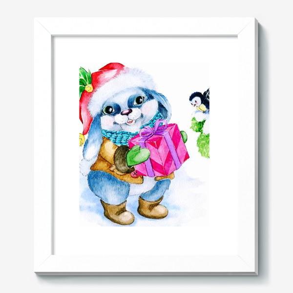 Картина «Заяц. Новый год. Подарок.»