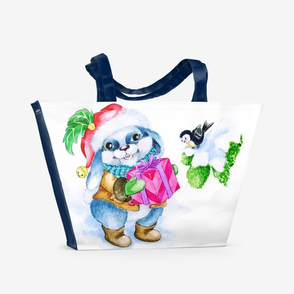 Пляжная сумка «Заяц. Новый год. Подарок.»