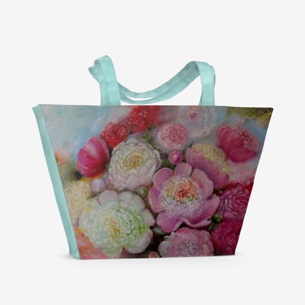 Пляжная сумка «Волшебные пионы счастья»