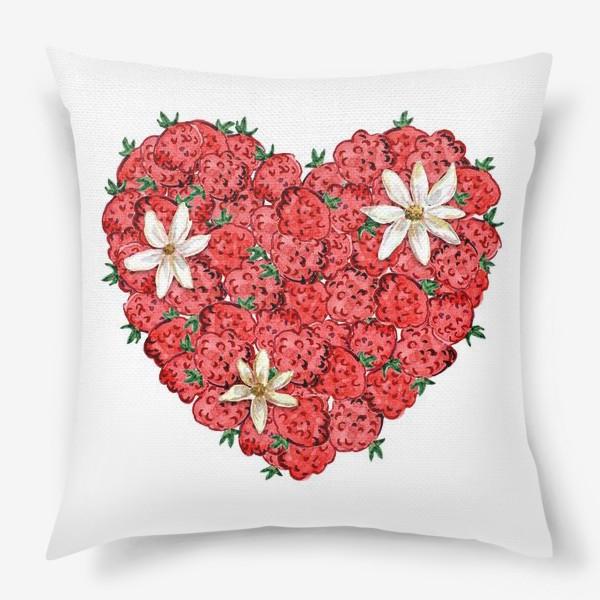 Подушка «Сердце из малины и ромашек»