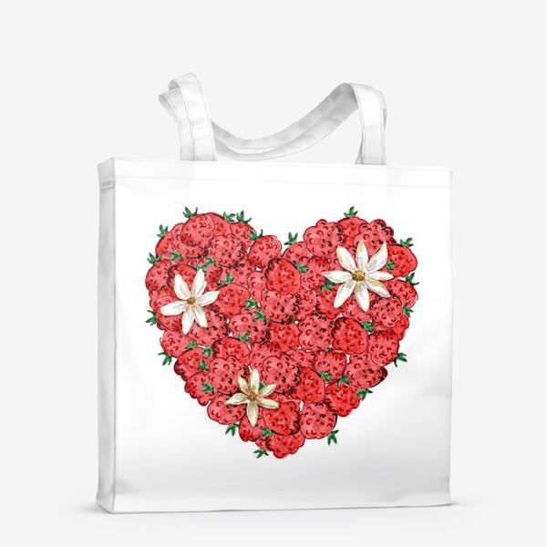 Сумка-шоппер «Сердце из малины и ромашек»
