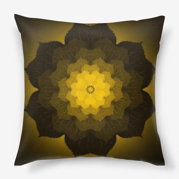 Подушка «Мандала из листьев желто-черная»