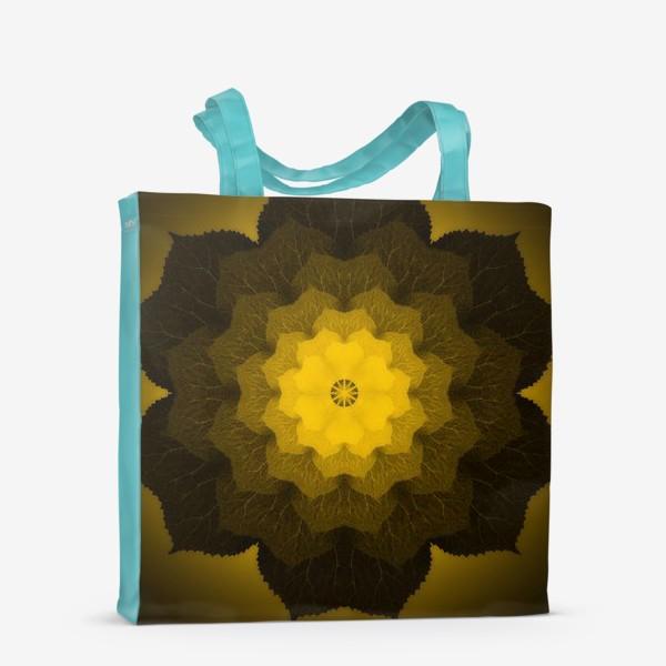 Сумка-шоппер «Мандала из листьев желто-черная»