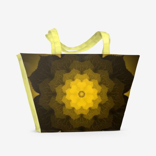 Пляжная сумка «Мандала из листьев желто-черная»