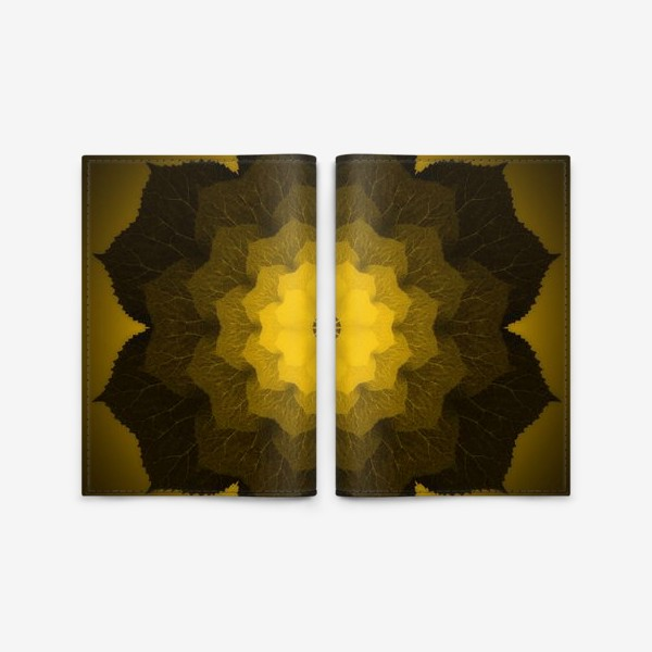 Обложка для паспорта «Мандала из листьев желто-черная»