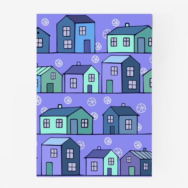 Постер «домики голубые текстура»