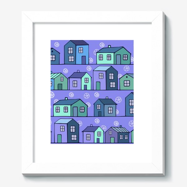 Картина «домики голубые текстура»