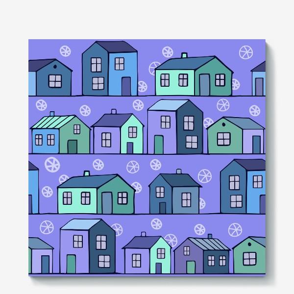 Холст «домики голубые текстура»