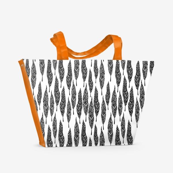 Пляжная сумка «Black African Leaves»