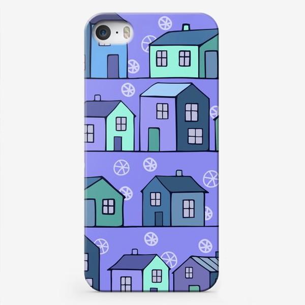 Чехол iPhone «домики голубые текстура»