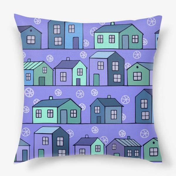 Подушка «домики голубые текстура»