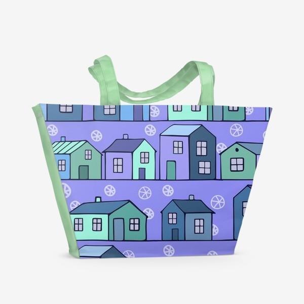 Пляжная сумка «домики голубые текстура»
