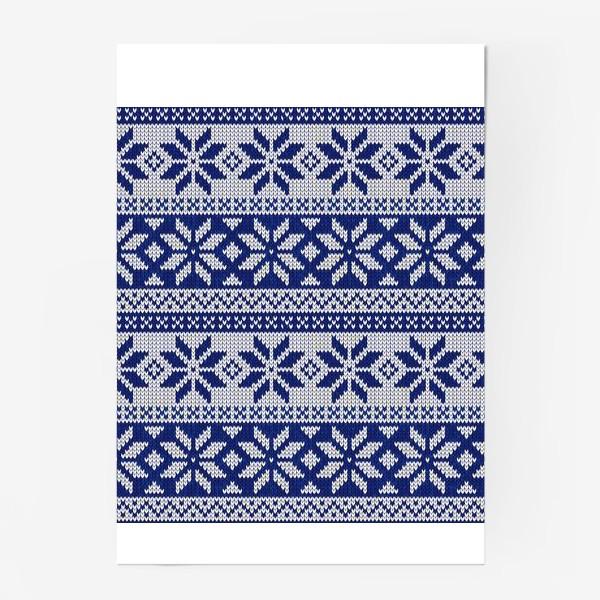 Постер «Скандинавский узор в синем»