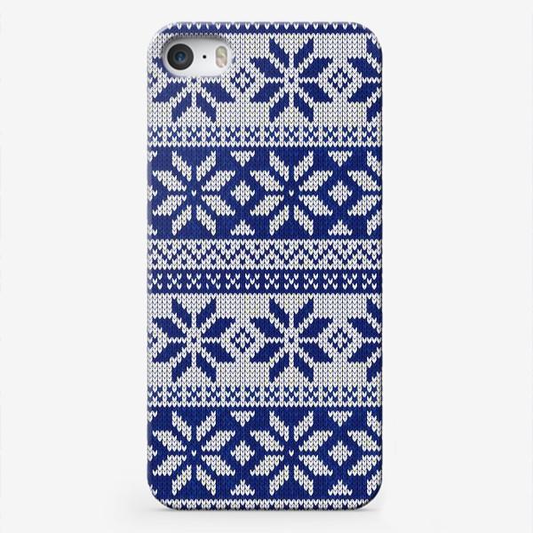 Чехол iPhone «Скандинавский узор в синем»