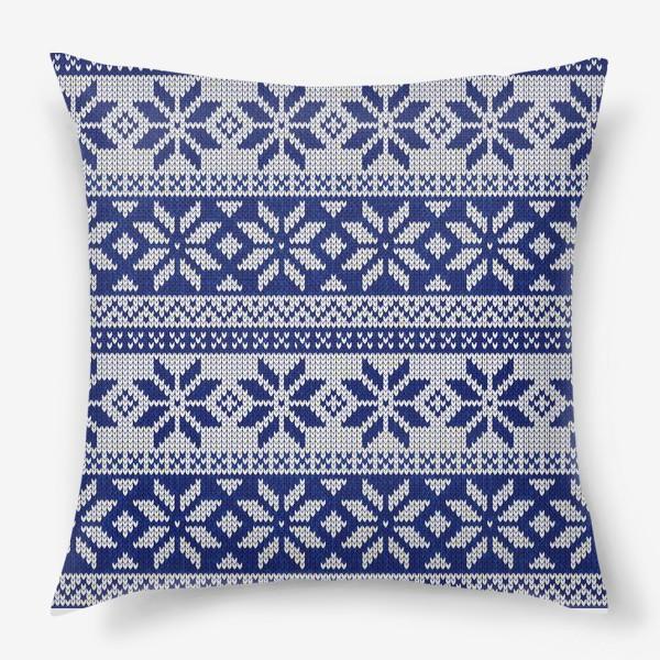 Подушка «Скандинавский узор в синем»