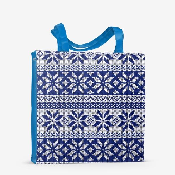 Сумка-шоппер «Скандинавский узор в синем»