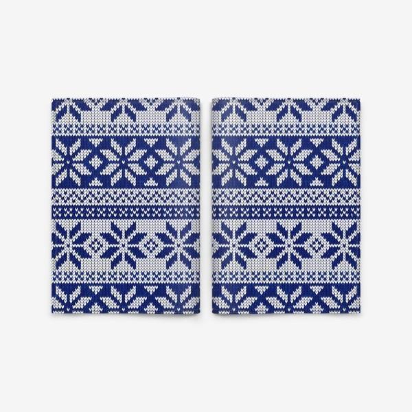 Обложка для паспорта «Скандинавский узор в синем»