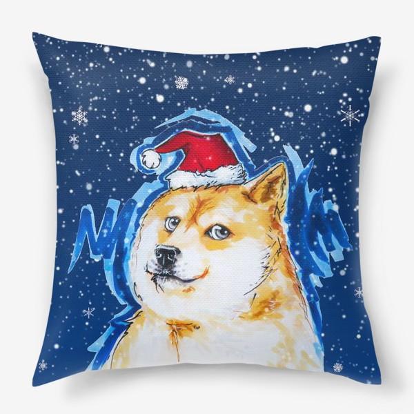 Подушка «Собака в снегу»